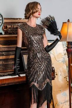 Нарядное платье с бахромой в стиле 20-х X5525