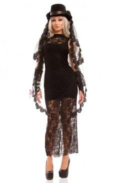 Длинное черное платье X5076