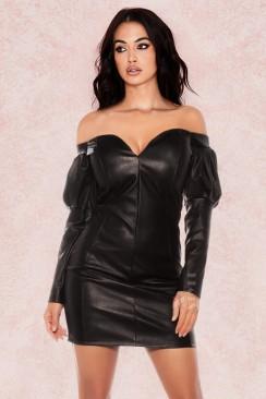 Кожаное платье с открытыми плечами KouCla