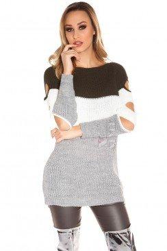 Акриловое платье-туника с прорезями