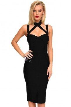 Бандажное платье с декольте и чокером XC5328