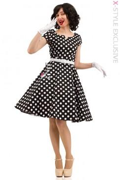 Платье в горошек с поясом X5340