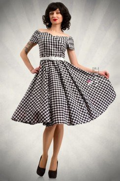Клетчатое платье с открытыми плечами и поясом X5347