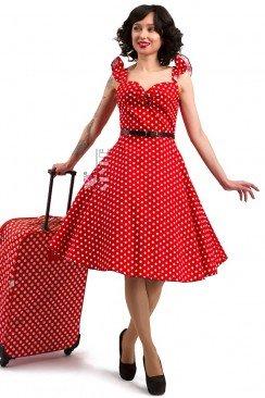 Красное платье Ретро в горошек X5355