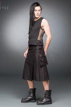 Черный килт с навесным карманом
