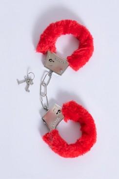Красные пушистые наручники DC1102