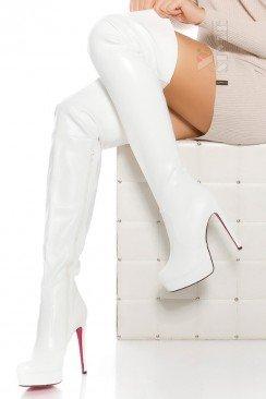 Белые ботфорты на высоком каблуке MF040