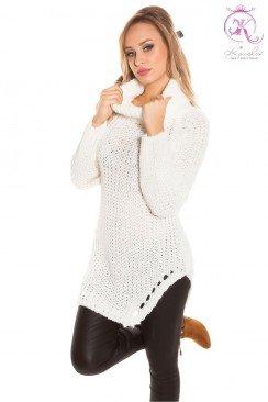 Белый женский свитер с разрезами KC1220