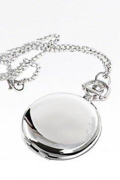 Карманные серебристые часы с цельной крышкой