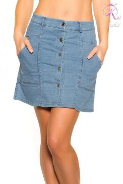 Джинсовая юбка с застежкой на кнопках KC173