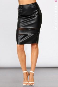 Кожаная юбка с прозрачными вставками X7110