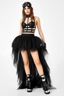 Фестивальная черная юбка-шлейф X7212