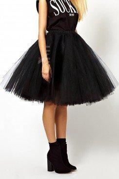 Суперпышная черная юбка-пачка X7150