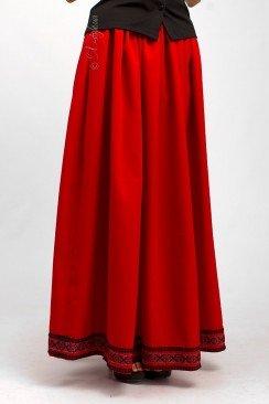 Длинная юбка с вышивкой и кружевом