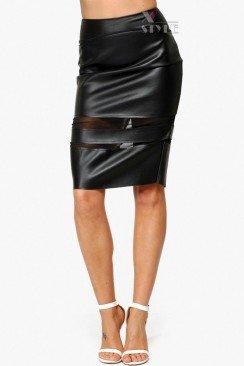 Кожаная юбка-карандаш 107110