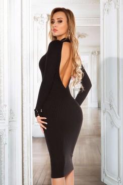 Вязаное платье с открытой спиной KouCla