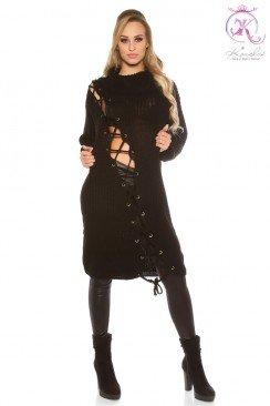 Черное платье-свитер KouCla