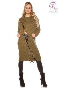 Платье-свитер со шнуровкой KouCla