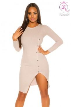 Вязаное платье с разрезом и пуговицами KC5373