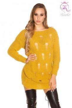Рваный свитер-туника горчичного цвета