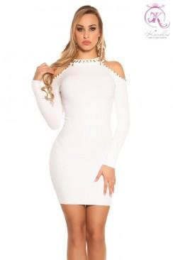 Вязаное платье с открытыми плечами KC5433