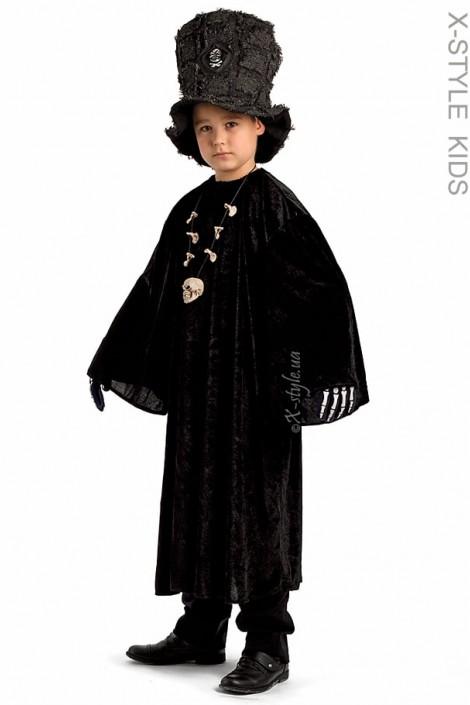 Детский черный балахон с широким рукавом (222006)