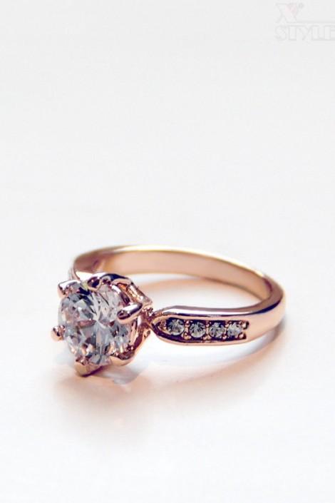 Кольцо с покрытием из розового золота A8184 (708184)