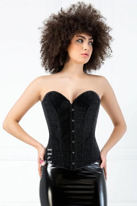 Блестящий черный корсет на бюске XT1174 (121174)