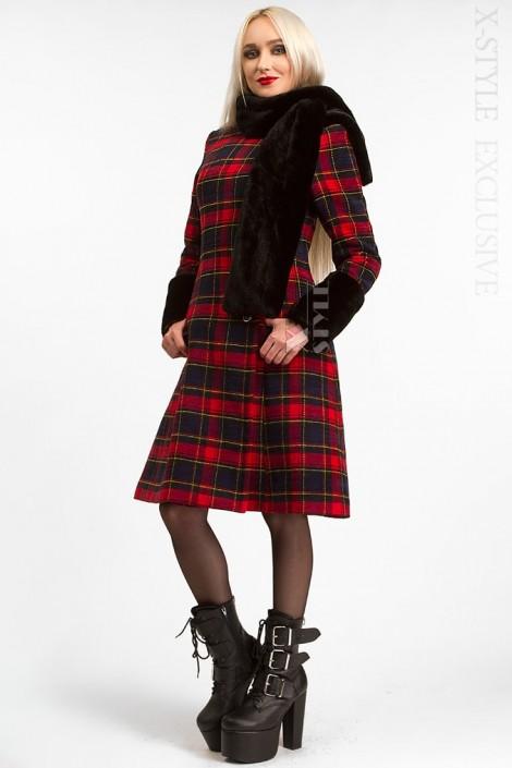Зимнее женское пальто с меховой шалью X5058 (115058)