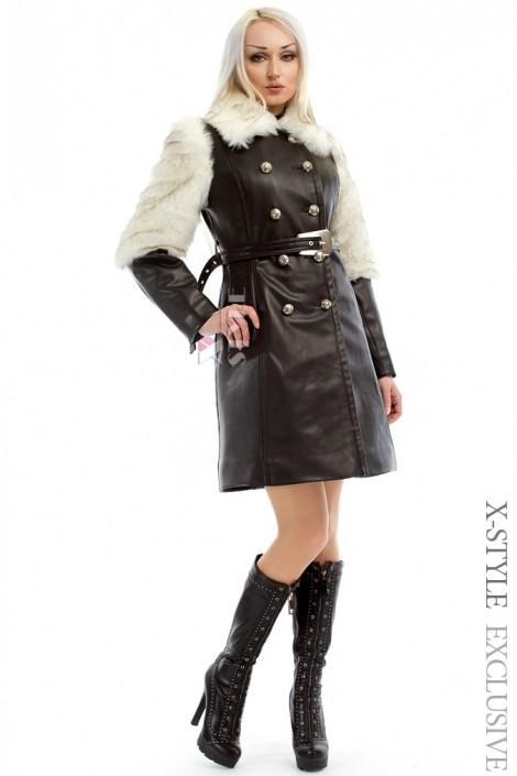 Зимнее кожаное пальто с мехом и поясом X-Style (115050)