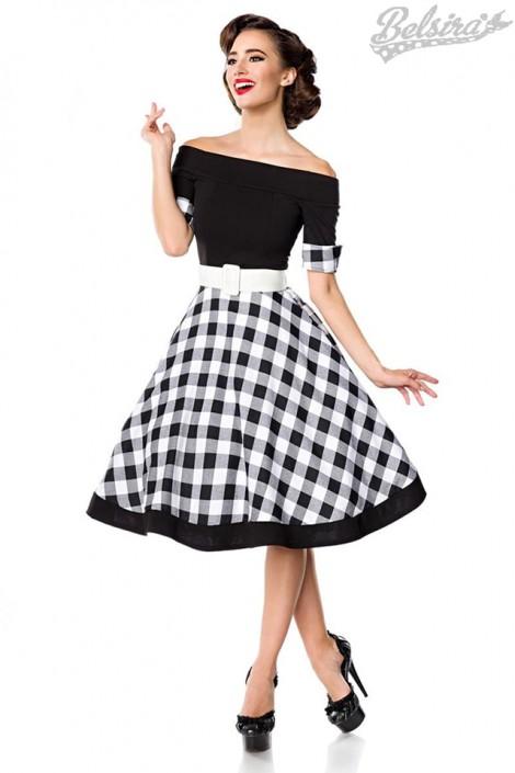 Винтажное платье с клетчатой юбкой (105255)