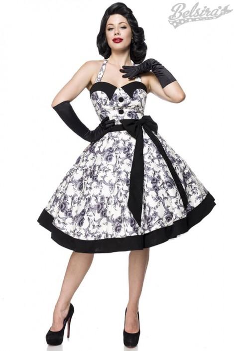 Ретро платье с контрастными деталями и поясом (105263)