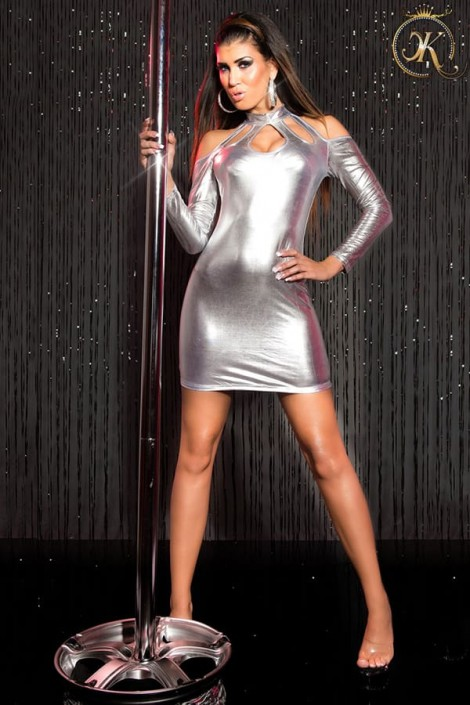 Серебристое платье с открытыми плечами KC168 (127168)