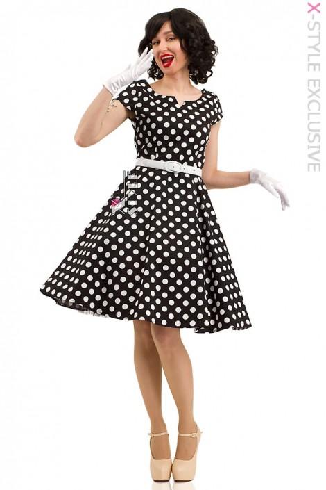 Платье в горошек с поясом X5340 (105340)