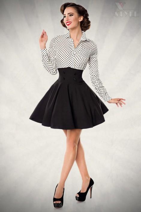 Черная юбка клеш с высоким поясом (107134)