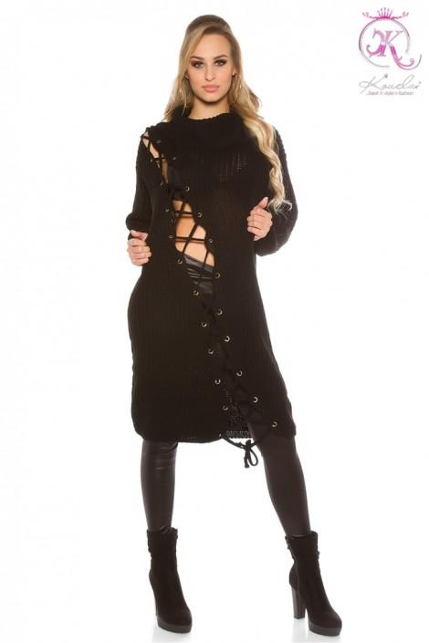 Черное платье-свитер KouCla (105363)