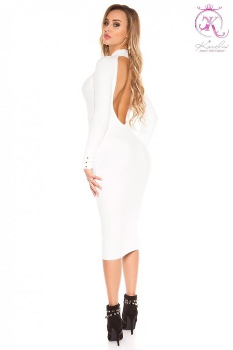 Белое вязаное платье с вырезом на спине KC368 (105368)
