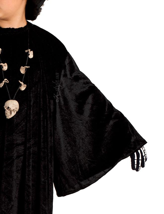 Детский черный балахон с широким рукавом, 7