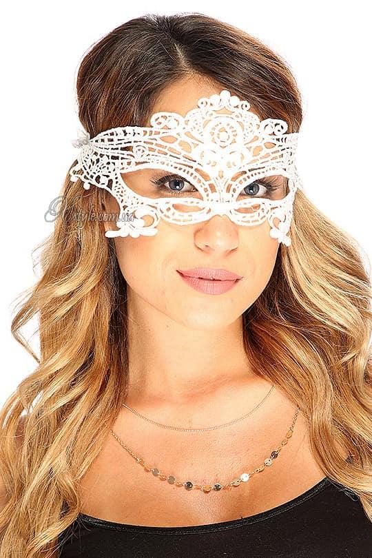 Белая кружевная маска 901002, 5
