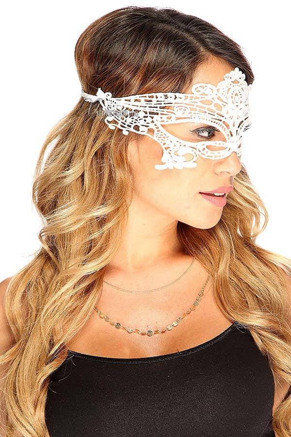 Белая кружевная маска 901002, 3
