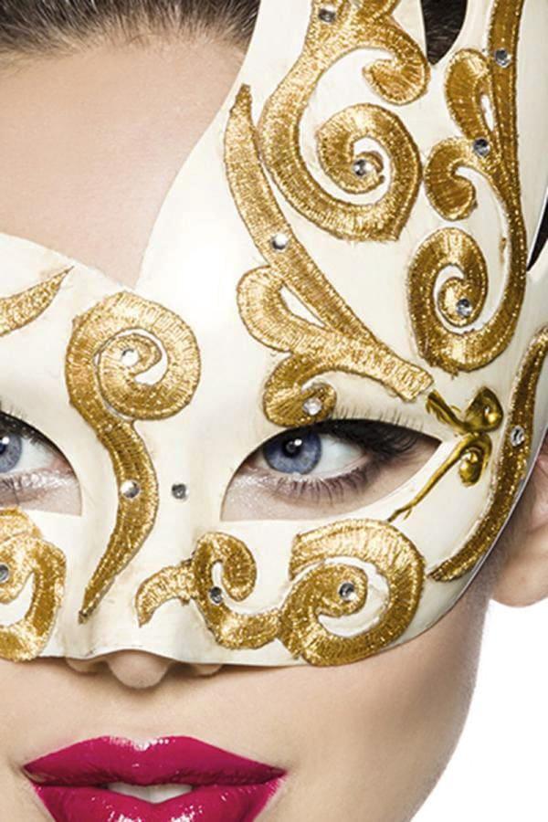 Венецианская маска с камнями и вышивкой A1079, 3
