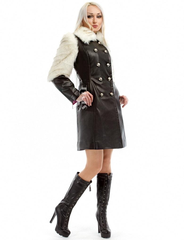 Зимнее кожаное пальто с мехом и поясом X-Style, 11