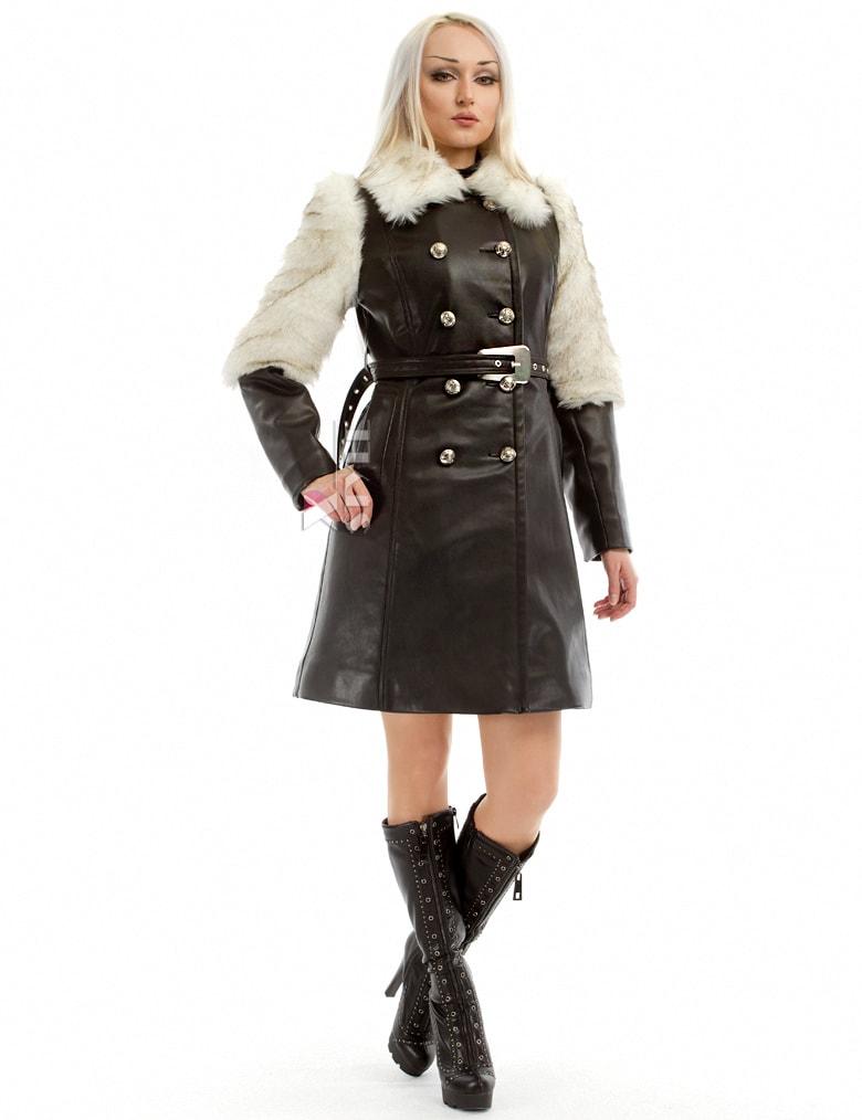 Зимнее кожаное пальто с мехом и поясом X-Style, 5