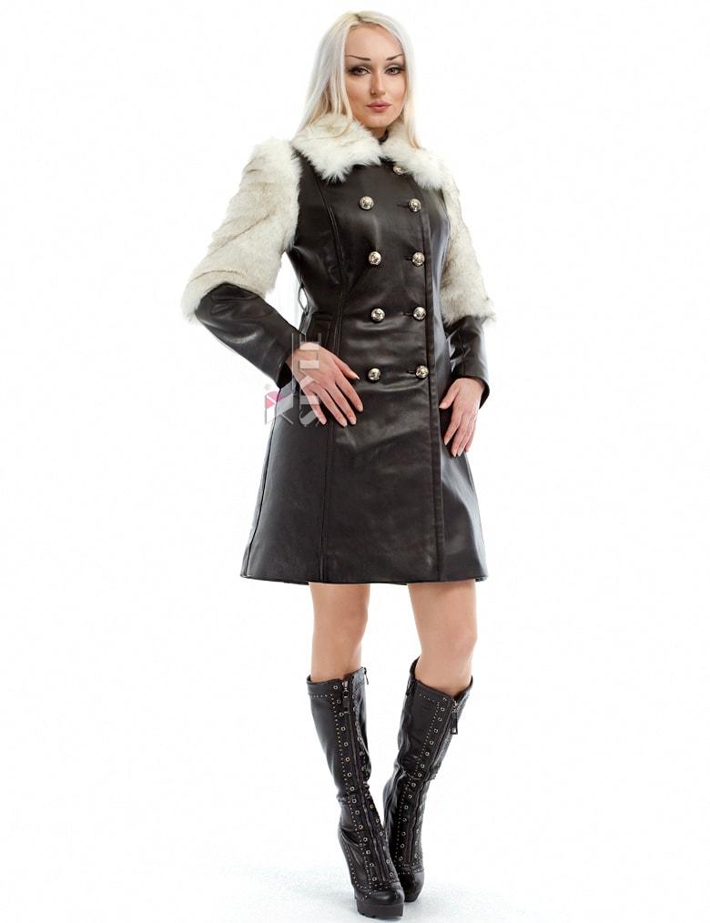 Зимнее кожаное пальто с мехом и поясом X-Style, 3