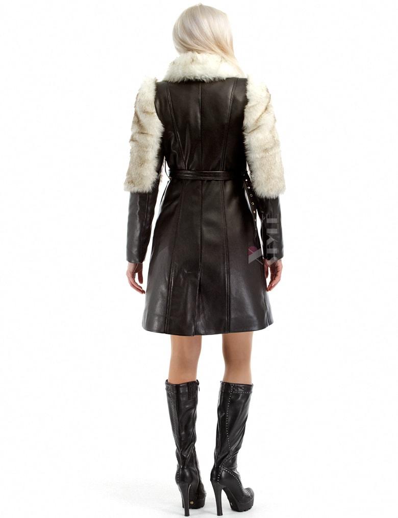 Зимнее кожаное пальто с мехом и поясом X-Style, 13