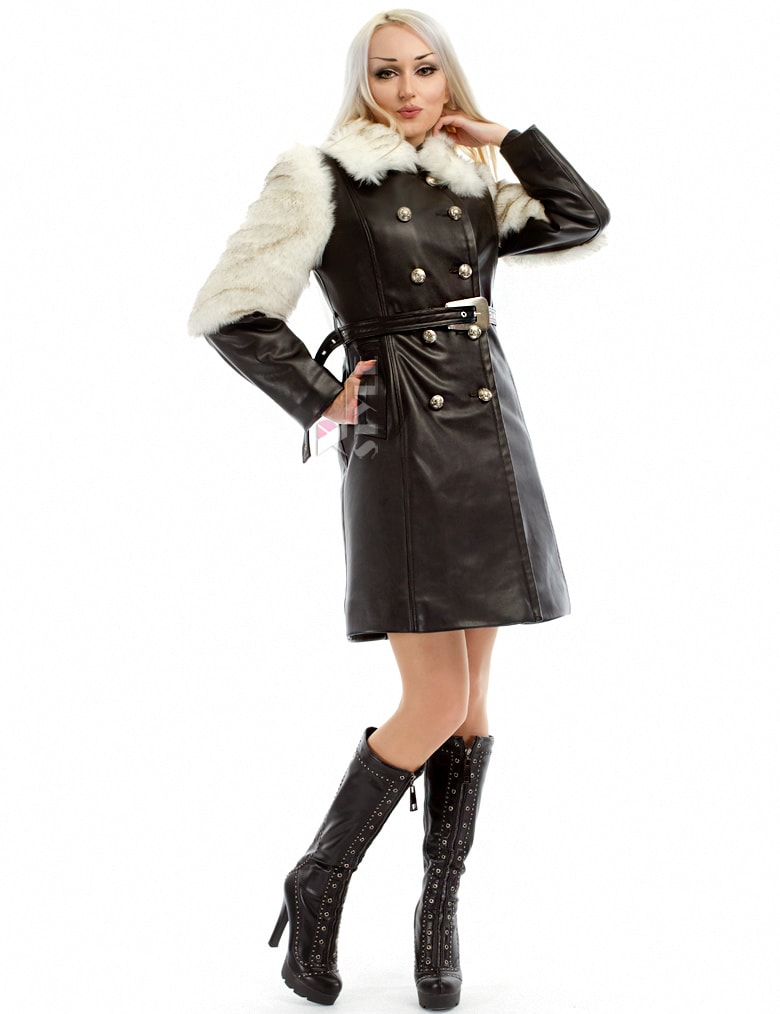 Зимнее кожаное пальто с мехом и поясом X-Style, 15