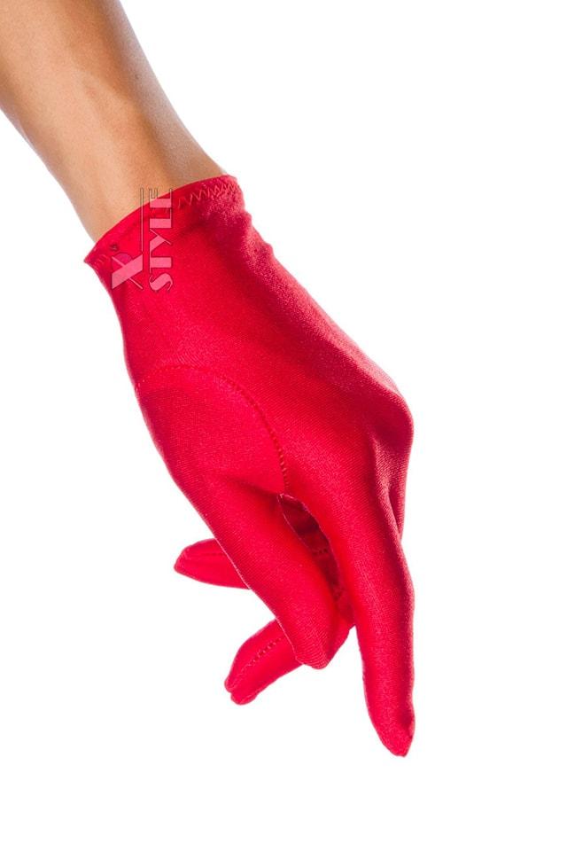 Красные атласные перчатки A1154