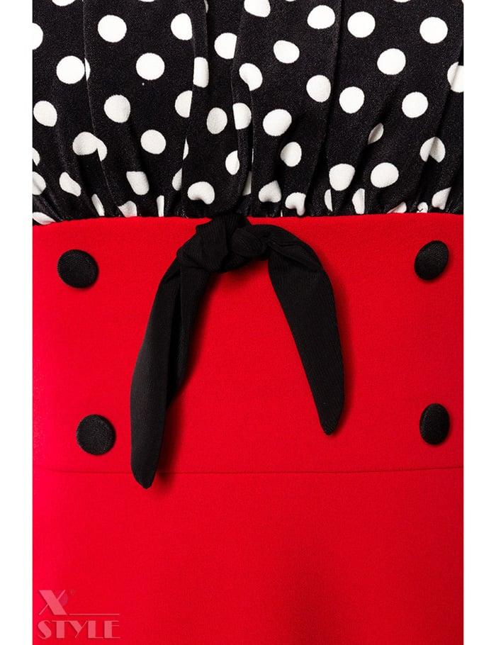 Красное платье с присборенным лифом, 7