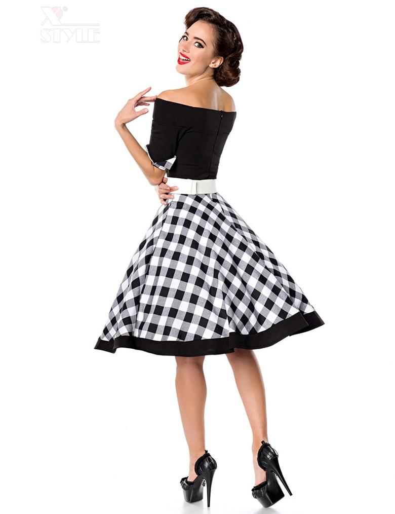 Винтажное платье с клетчатой юбкой, 3