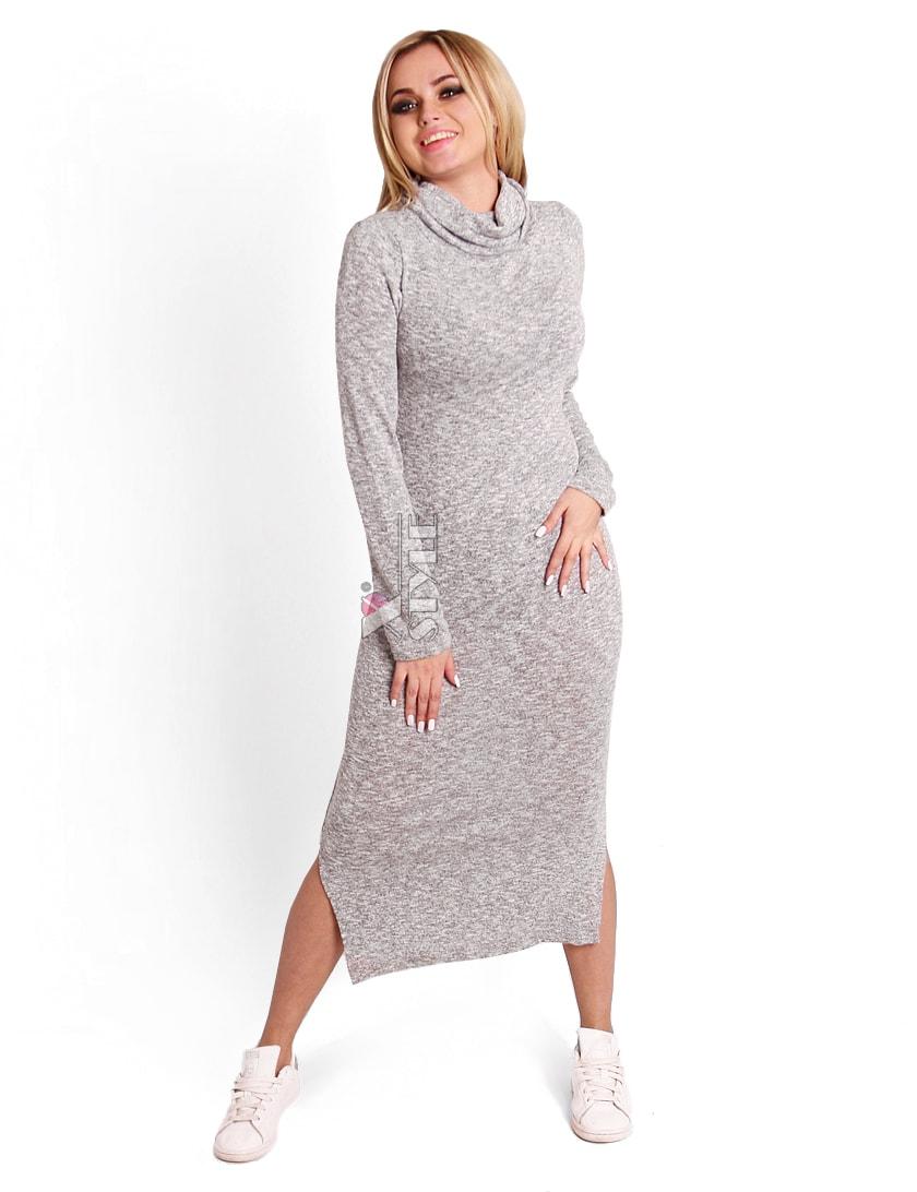 Серое меланжевое платье XC306, 9